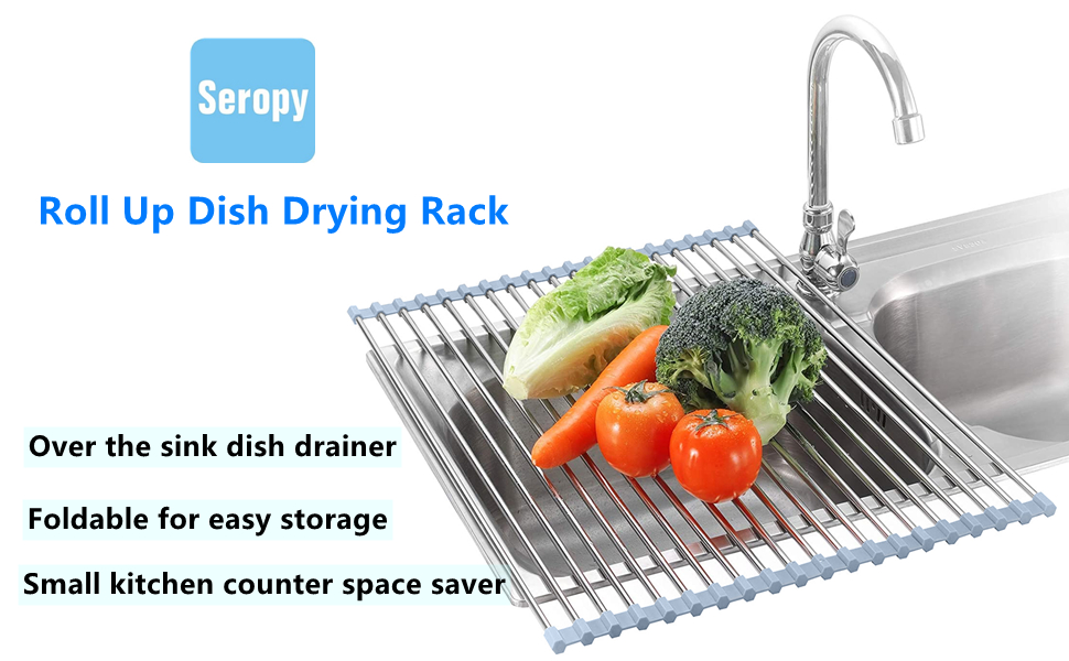 Dish drying rack roll up over the sink