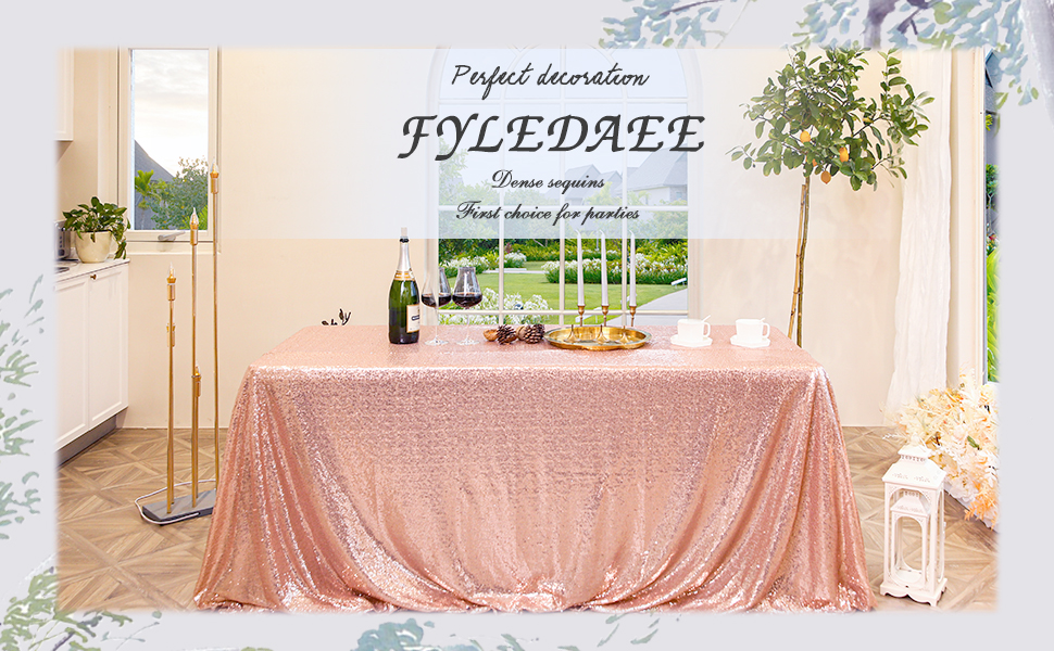 rosegold 90*132 inch sequin tablecloth