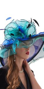 Women's Organza Church Kentucky Derby Fascinator Bridal Tea Party Wedding Hat  Teal Green
