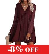 KIRUNDO Women's Dresses Long Sleeves Short Mini Dress V Neck Flowy Casual Swiss Dot Loose Fit Bab...