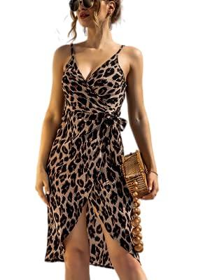 leopard party dress,cocktail cami dress,nighclub cami dress leopard,women leopard cami dress beach