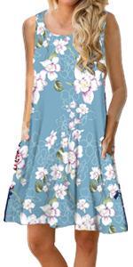 PrinStory Women Summer Floral Print Casual T Shirt Dresses Beach Cover Up Plain Pleated Tank Dress