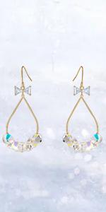 Swarovski Crystal Long Hoop Drop Earrings