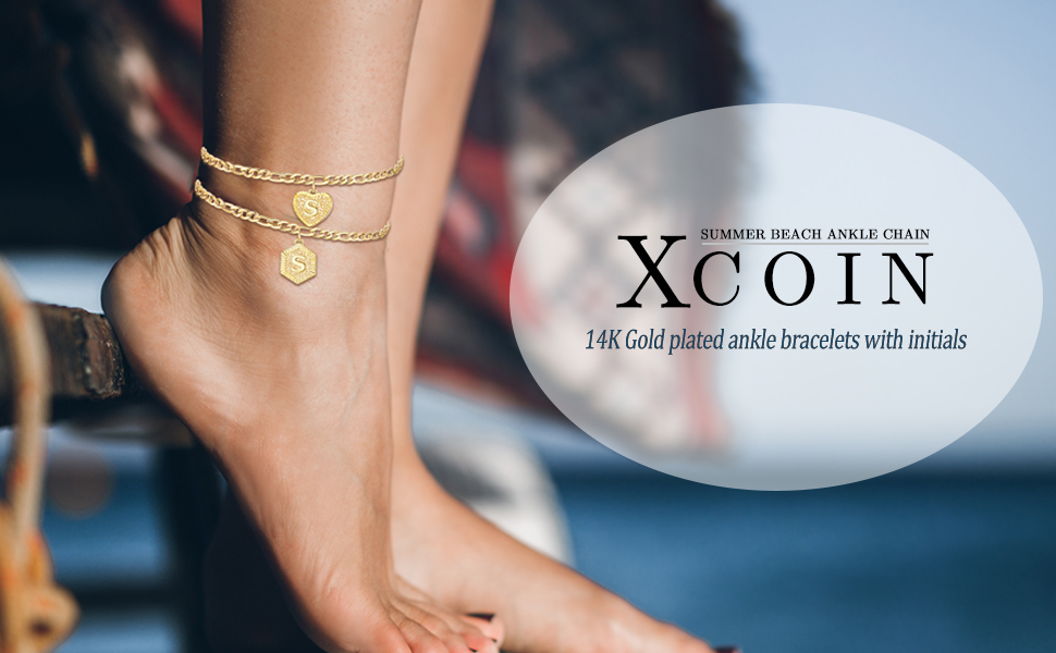 Initial Ankle Bracelets for Women, 14K Gold Plated Figaro Chain
