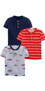 Boys 3 Pack Short Sleeve Henley Shirt