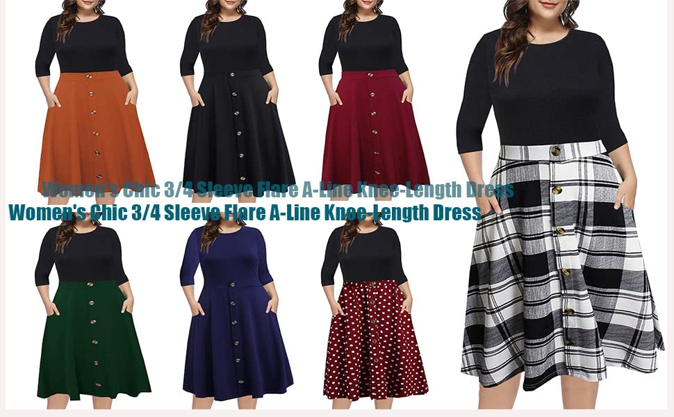 3/4 Sleeve Flare A-Line Knee-Length Dress