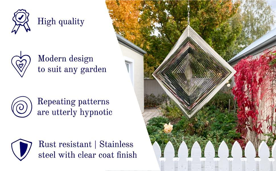 Rust resistant high quality stainless steel mirror finish garden yard art diamond outdoor yard art