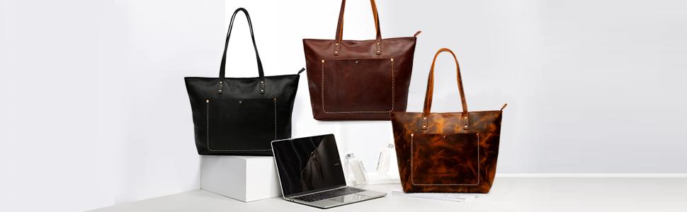 Vintage Genuine Leather Tote Shoulder Bag