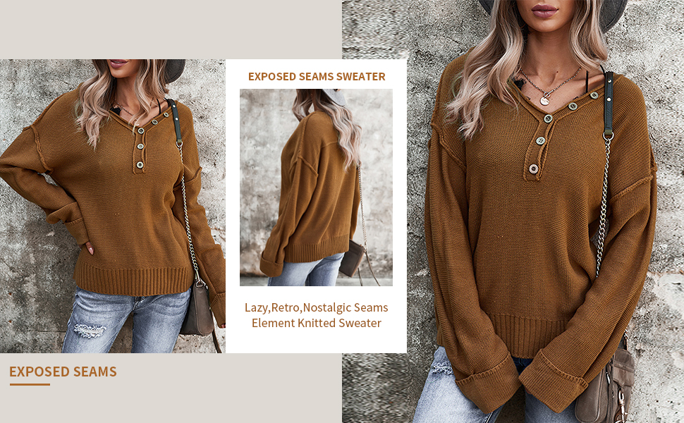 long sleeve v neck sweaters