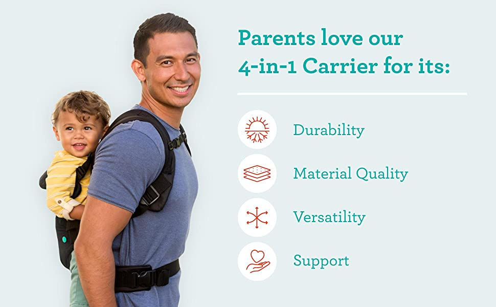 Infantino Flip 4-in-1 Carrier - Ergonomic, Convertible, face-in and face-Out, Front and Back Carry