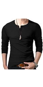Men's Fashion Slim Fit Long Sleeve Collarless Grandad Tops V Neck Henley Polo T-Shirts UK S to 2XL