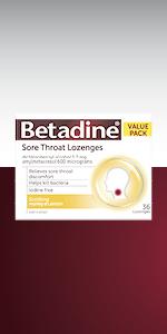 Betadine Sore Throat Lozenges;  Honey & Lemon; Menthol & Eucalyptus; Orange, 16-pack, 36-pack