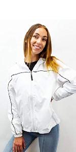windbreaker hoodie women zipper hoodie sweater red pockets hood fashion