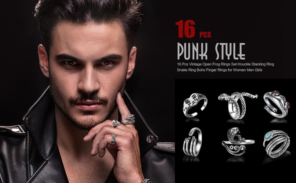 16 pcs punk style rings for men women girls