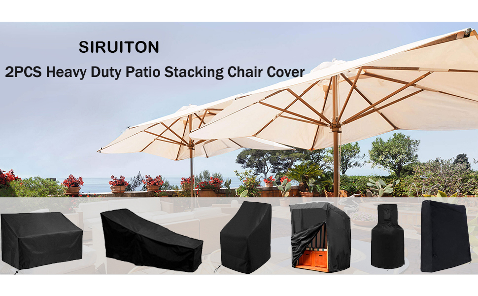 2PCS Heavy Duty Patio Stacking Chair Cover