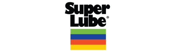 Logo lettering reads Super Lube followed by a box with green, blue, orange, and yellow stripes