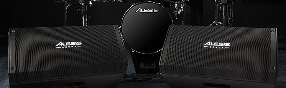 TWO ALESIS STRIKE AMP 12 CONECTED TO A ALESIS  DRUMS