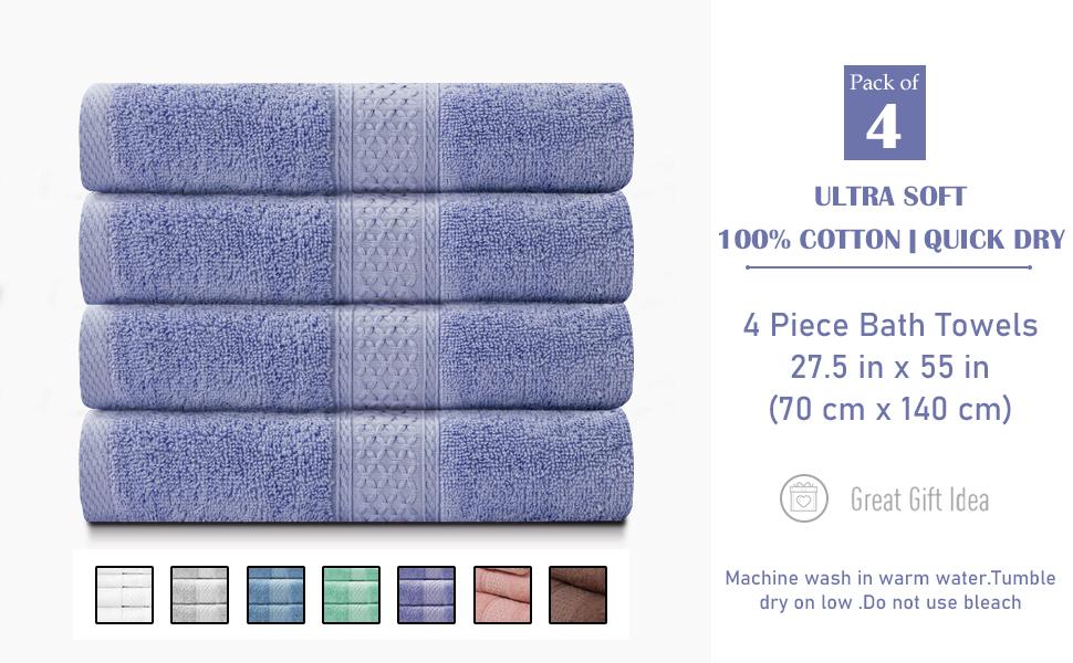 4 Piece Bath Towels Set 100% Cotton Quick Dry Bathroom Towels
