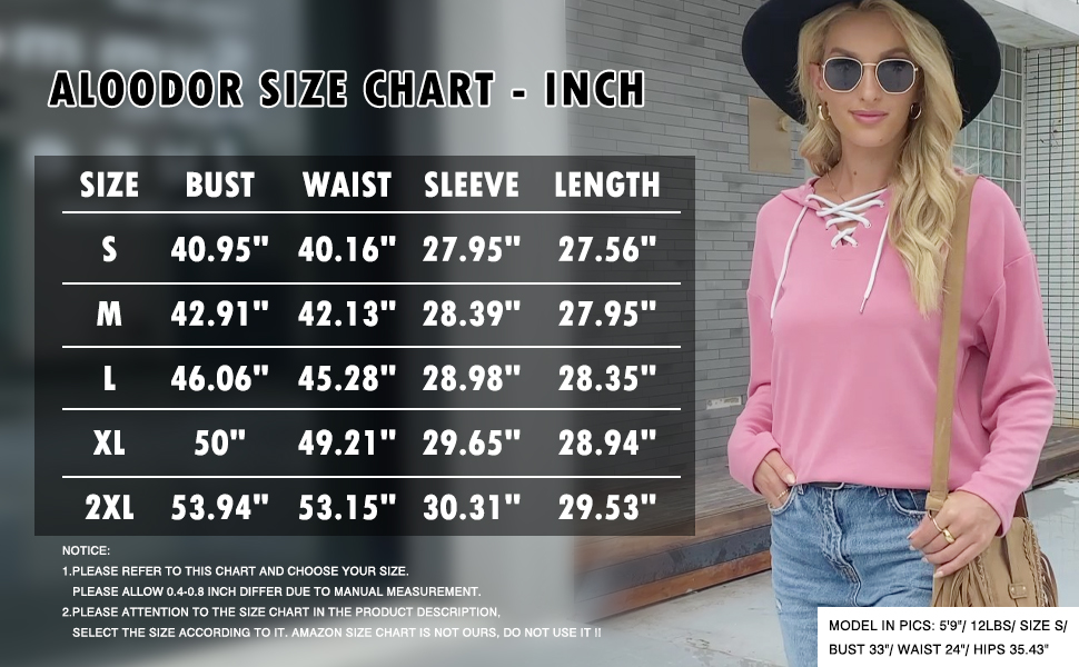 Aloodor Womens Hoodies Fall Sweaters for Women Trendy Tops Size Chart
