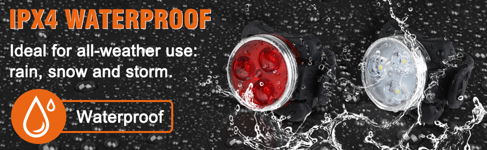 The IPX4 material provides the bike lights protection against water splash whether rain or shine.