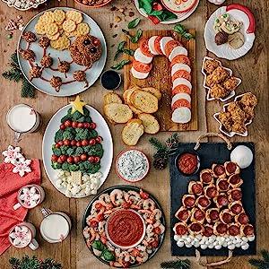 A Christmas themed snack spread.