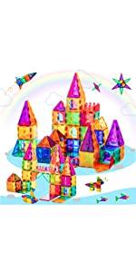 52 PSC Magnetic Tiles for Kids 3D Magnet Building Tiles Set