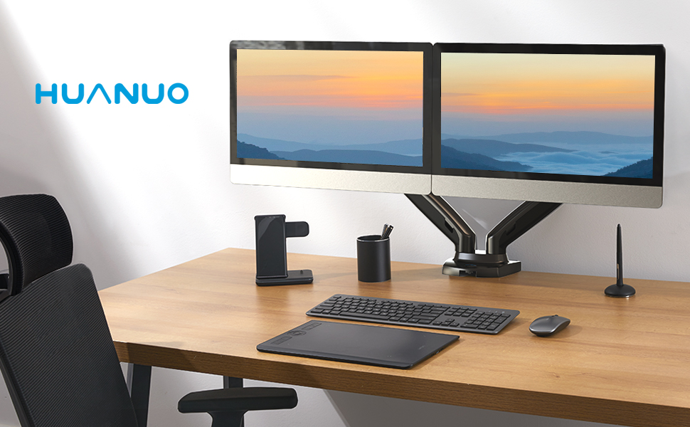Double efficiency with HUANUO dual monitor stand