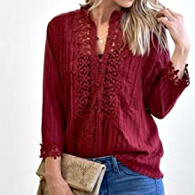 Women's V Neck Satin Embossed Roll up Sleeve Button Down Blouses Tops