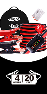 TOPDC 4 gauge 20 feet jumper cables with tester