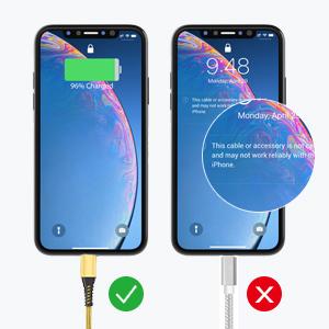 Câble iPhone Chargeur Cable 2m Lightning Cable MFi Certifié Nylon Tressé Cordon Charge Rapide