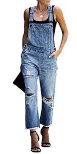 denim overall jeans jumpsuits ripped overalls Casual denim overalls pants for women