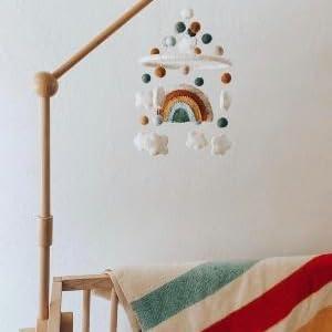 Wooden Crib Arm w/ Rainbow Mobile