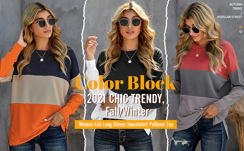 women fall color block tie dey long sleeve shirt for legging