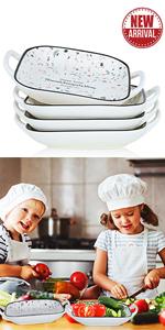 JDZTC Square Pasta Bowls Salad Plates Baking Dishes Dinner Dessert Plate