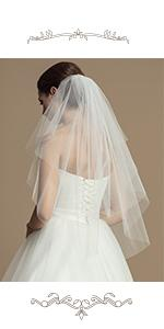 2 Tiers Bride Wedding Veil Short Fingertip Length Hair Accessoies with Comb and Cute Edge