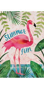 Hzppyz Summer Hawaii Tropical Aloha Fun Flamingo Garden Flag