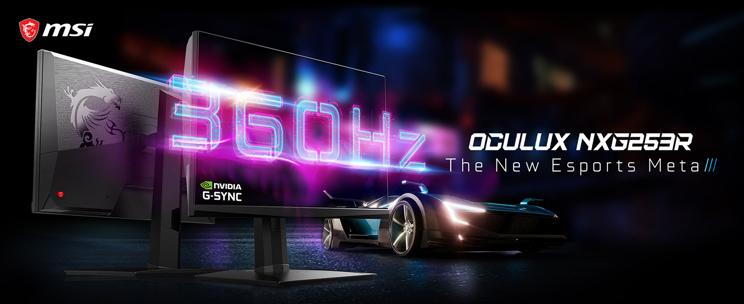 """MSI Oculux NXG253R 360Hz 1ms response 24.5"""" G-Sync Gaming Monitor Hyper Competitive Gaming"""