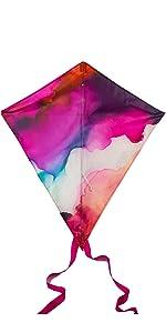 Image of Tie-Dye Diamond Kite with Pink Tail streamer