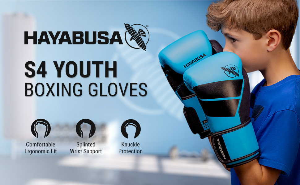 Youth in Boxing Stance wearing hayabusa S4 Blue boxing gloves