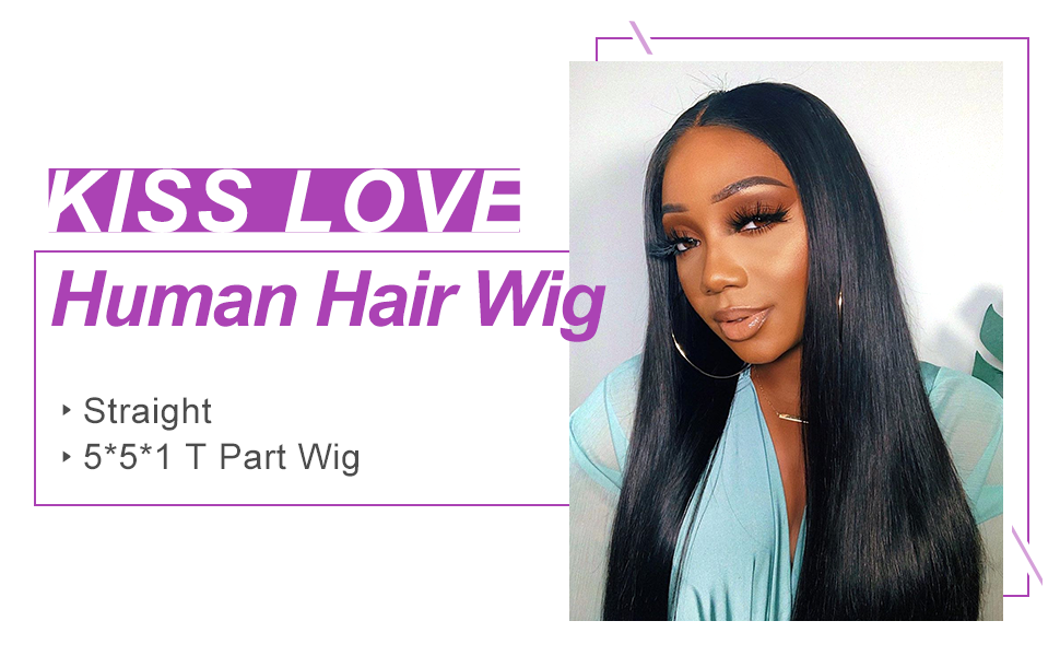 straight middle part lace human hair wig
