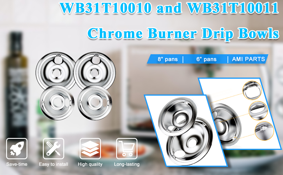 WB31T10010 and WB31T10011 Chrome Burner Drip Bowls Replacement Fits GE/Hotpoint/Kenmore