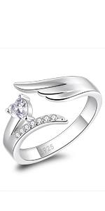 wings heart ring adjustable