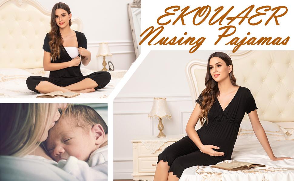 EKOUAER Maternity amp; Nursing Pajama Set