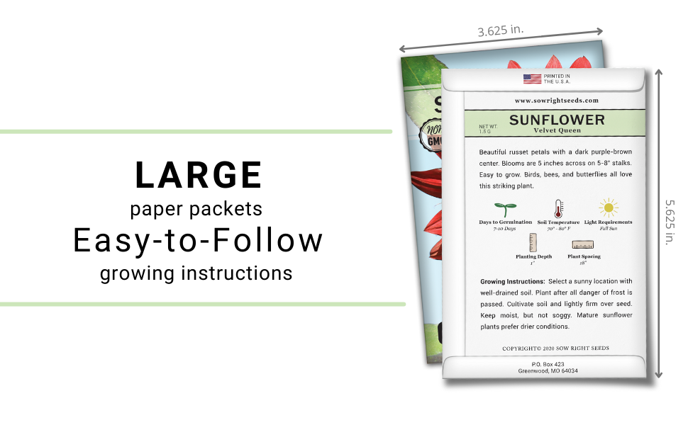 Large paper packets. Easy to follow growing instructions.