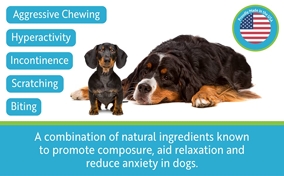 Combination of natural ingredients to promote composure, aid relaxation and reduce anxiety in dogs