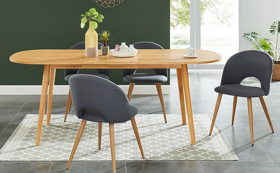 table en bois extensible, chêne