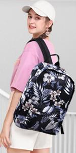 black floral backpack