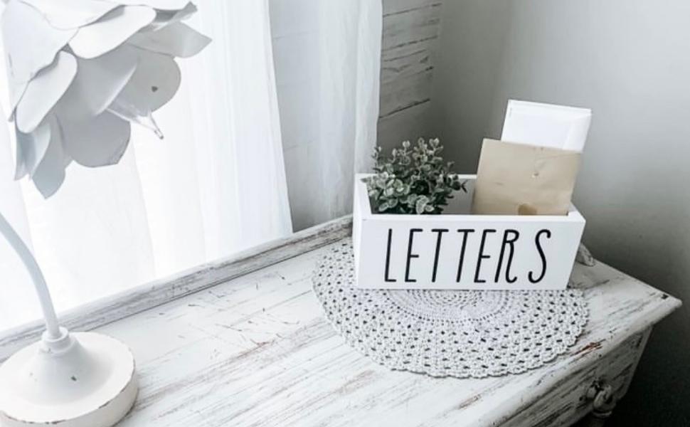 white rustic farmhouse mail holder