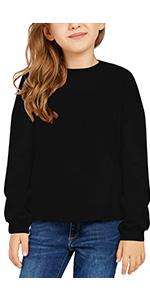Girls Solid Black Active Hoodie Long Sleeve Sweatshirts Pullover Tops 4-13 Years