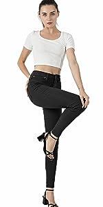 Women's Hyper Ultra Stretch Comfy Skinny Pants, Midrise Color Skinny Jeans, Capri Legging,Black